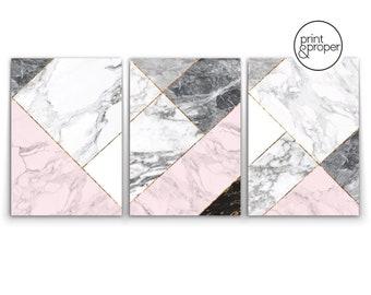 MARBLE GEO Geometric TRIO - 3 x Wall Art Print Poster Canvas - Scandi Dusty Pink