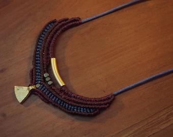Ethnic necklace Burgundy and dark blue beads bronze brass