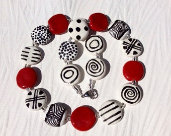 Kazuri Red, White and Black Ceramic Necklace, African Fair Trade Beads, Handmade Beaded Necklace, Hypoallergenic Stainless Steel Clasp