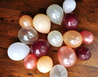 Rose Gold Balloon Mix. Crafted in 2-5 Business Days. Winter Onederland Party Balloons. Mixed Color Balloons. 16CT.
