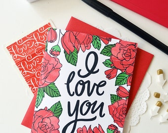 I love you, You are my favorite, Valentine, Hand lettered, roses, Folded Note Cards, Valentine's Day, Stationery