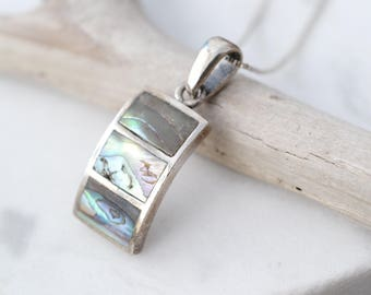 Sterling Silver Abalone Inlay Necklace, Sterling Abalone Inlay Pendant, Shell Necklace, Sterling Silver Shell Jewelry, Abalone Jewelry