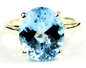 Swiss Blue Topaz, 18Ky Gold Ring, R055
