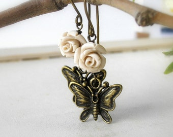 Ivory rose and butterfly brass earrings - dangle - by antigonidesigns