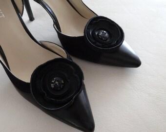 Black leather Circle Rosette shoe clips, Shoe Decorations, Circle Rosette Leather shoe clips