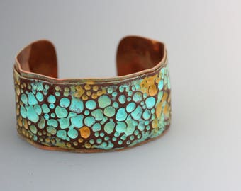 Copper and Polymer Clay Bracelet. Solid copper cuff embellished with textured clay. Art Jewelry.