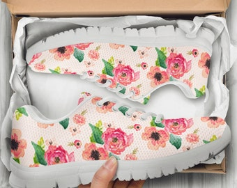 Floral shoes etsy pink floral print custom white shoessneakers ladieskids sizes flower girl mightylinksfo