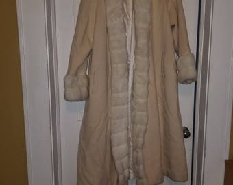 Full Length Coat with Faux Fur trim