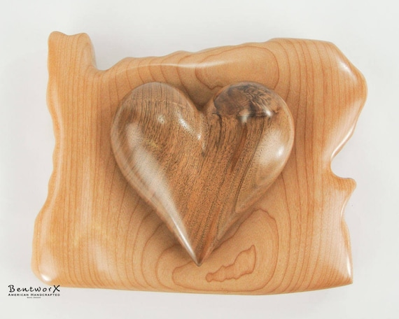 """I Love Oregon Hand Carved """"Beautiful"""" Black Walnut Heart with Oregon Pacific Big Leaf Maple Holder (2 Pieces)   Bentworx™ Wall Art"""