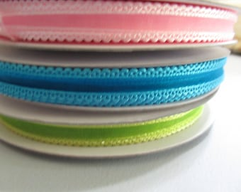 3/8 sheer ribbon , sheer ribbon with satin edge, satin scalloped edge ribbon, three spools ribbon, ribbon lot,
