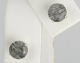 Tourmalinated Quartz 6mm 1.50ctw Stud Earrings Sterling Silver Natural Untreaded