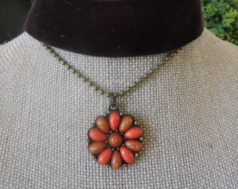 "1"" brown velvet choker with connected chain and drop pendant orange burst"