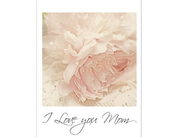 Mother's Day Card, Pink Peony Card, Peony Greeting Card, I Love You Mom, Blank Photo Card