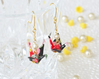 Origami Crane Earrings - Black/Red