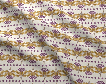 Elderberry Fabric - Elderberry - Purple By Maritcooper - Purple Elderberry Fruit Striped Dotted Cotton Fabric By The Yard With Spoonflower
