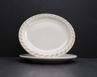 Vintage Buffalo China Dinner Plates 'S' Swirl Pattern on Edge, Set of 2 (E994)