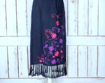 Vintage black silk embroidered floral tassel fringe maxi skirt/long boho/hippie festival Indian skirt/10/medium