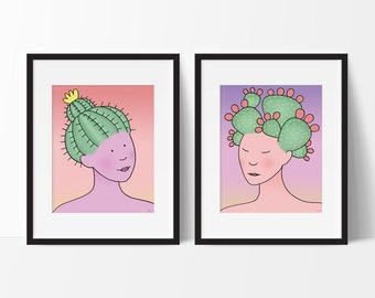 Cactus Girls Set of Two Art Prints in Southwestern Desert Pastel Colors, Nursery, Childs Room Decor