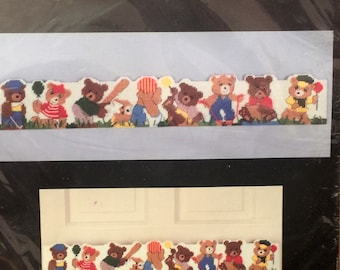 "Vintage Teddy Bear Plastic Canvas Needlepoint Kit Tumbling Bears Sports Baseball Wall Hanging/Draft Stopper Kids Room Bucilla Diy 5""x 34"""
