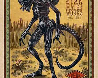 """Alien Matchbox Art- 5"""" x 7"""" matted signed print"""