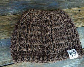 Crochet wrap around messy bun beanie