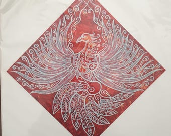 Signed Reproduction Print of the Dancing Phoenix Painting by Bronwen Valentine
