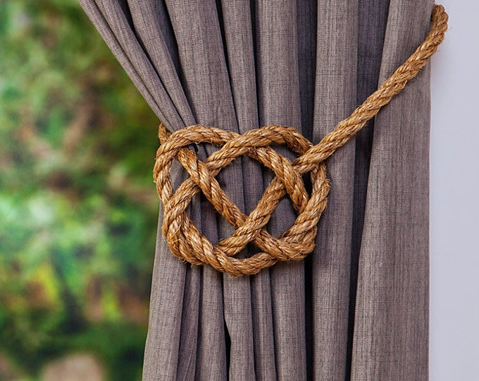 Large Manila Rope Celtic Heart Curtain Tie Backs / Rustic Ties / Rope Hold Backs / Shabby Chic Tie backs/ Window Treatment Curtain Ties