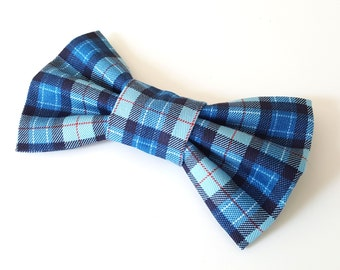 Dog Bow Tie - Blue Plaid Check