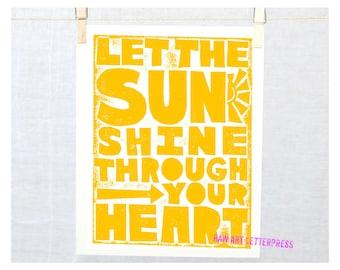 Baby Wall, Let the Sun Shine Print, Kitchen Art Print, Positive Quote, Wall Art, Modern Nursery Art, Linocut Print style, Get Well Gift Idea