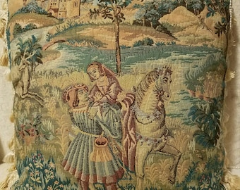 Pillow Italian Tapestry Pastoral Scene Man Woman Horse Castle, Newly Designed