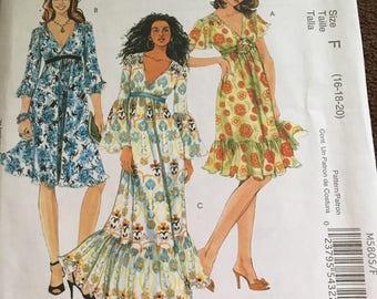 McCalls M5805 Laura Ashley Misses Lined Dress   Size 16, 18, 20