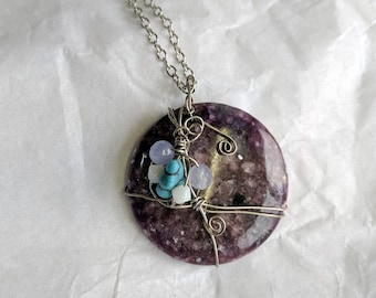 Purple Lepidolite Wire Wrapped Pendant with turquoise & amethyst