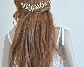 Gold leaf hair comb, gold leaf  headpiece, gold leaf hair piece, gold leaf head piece, grecian hair comb, bridal hair comb, greek headpiece