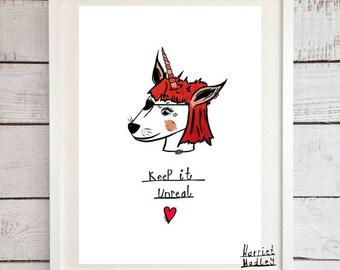 Red Unicorn Cute Keep It Unreal Print Illustration Home Decor Nursery Art