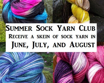 Sock Yarn Club Membership, Handpainted Summer Sock Club June July August monthly shipments, free shipping