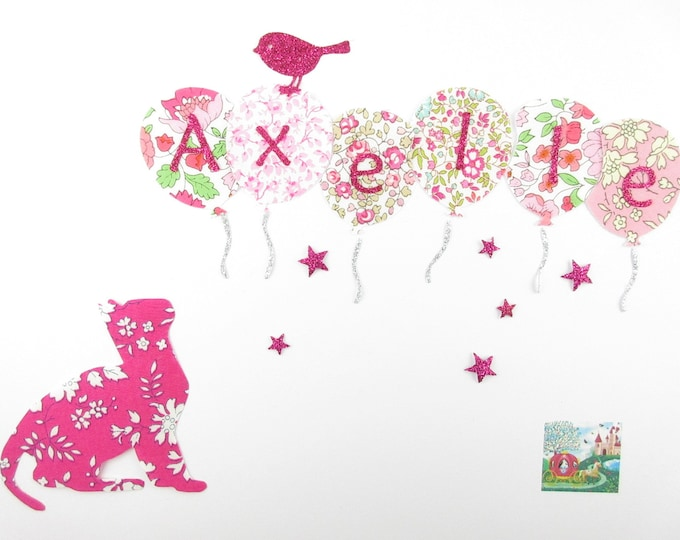 Applied fusible cat & personalized name of 6 letters in liberty fabric pink glitter flex patch iron on fusible name