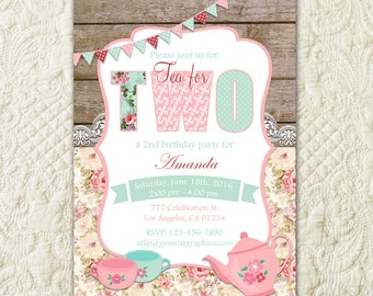Tea For Two Invitation, Tea Party Invitation, 2nd Birthday Invitation, Tea For 2, Tea For Two Birthday, Rustic Wood Birthday Invitation