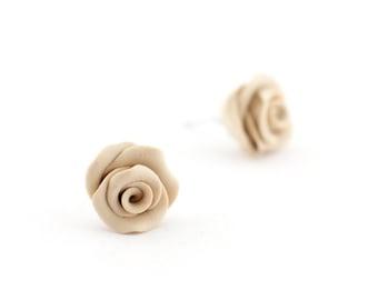Beige rose earrings - little rose studs - rose bridal earrings - bridesmaid gift - beige earrings - bridesmaid earrings - clay earrings