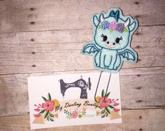 Girly Dragon Feltie Bookmark/ Planner Felt Paper Clip