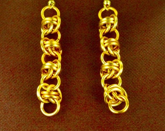 Gold Anodized Aluminum Dangle Barrel Weave Chainmaille Earrings