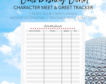 Disney World Character Meet and Greet Tracket - Print Your Own Disney Printable Planner - INSTANT DOWNLOAD Planning Letter Size 8.5x11 Paper