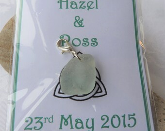 Scottish Sea Glass Wedding Favours Charms Keyrings Personalise Card