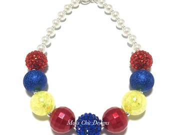 Toddler or Girls Princess Chunky Necklace - Red, Royal Blue, Yellow Chunky Necklace - Birthday Princess Chunky Necklace - Back to School