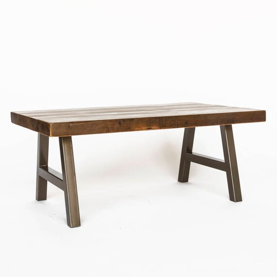 Reclaimed Wood Coffee Table Chicago: Rustic Coffee Table Made Of Reclaimed Wood And Steel A Frame