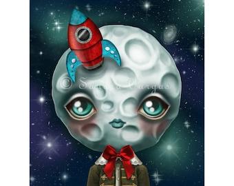 Moon Boy 8 x 10 Print, Creepy Cute Digital Illustration by Sandra Vargas, Full Moon, Pop Surrealism