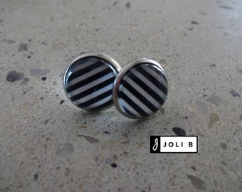 Earrings stainless steel - 12 mm - black and white