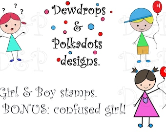 Girl and Boy digital stamps.