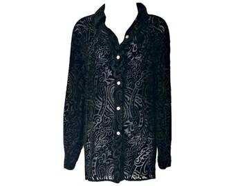 Vintage Velvet Top 90s Grunge Silk Black Sheer Long SizeLarge