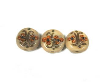Round Glass Bead With Flower (3pc)