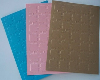 10 Retro Squares Embossed Cardstocks - Choose your color